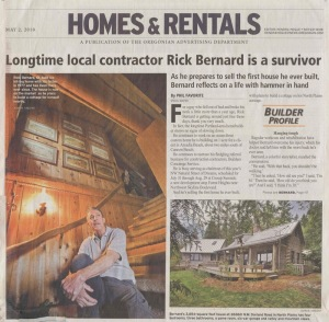 Newspaper article from the Oregonian about Rick Bernard selling his custom log cabin built 25 years ago.