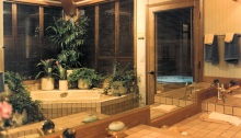 Example of a luxurious bathroom built by Rick Bernard of Bernard Custom Homes for the Barritz, popular in the 1980-90s.