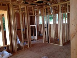 Cottage in the Woods - master bathroom framed