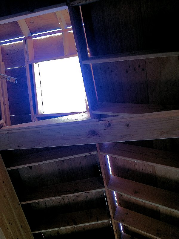 Cottage in the Woods - skylight over entrance living room.
