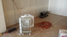 New Cottage in the Woods - Rick Bernard - Construction - Sheet Rock Stage dryers and heaters.