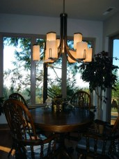 Dining Room with Dining Table and Custom Lamp - New Cottage in the Woods with Rick Bernard