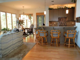 Kitchen and Dining Room from entry - New Cottage in the Woods with Rick Bernard