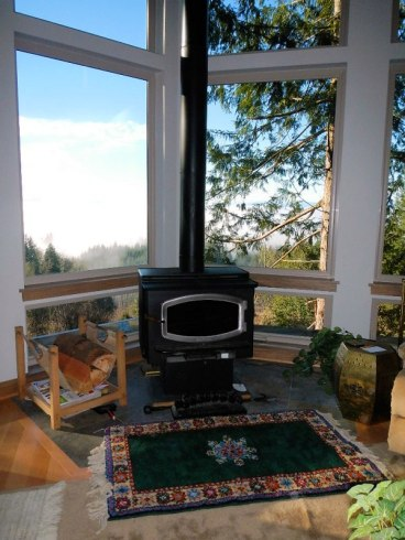 Living Room Wood Stove - New Cottage in the Woods with Rick Bernard.