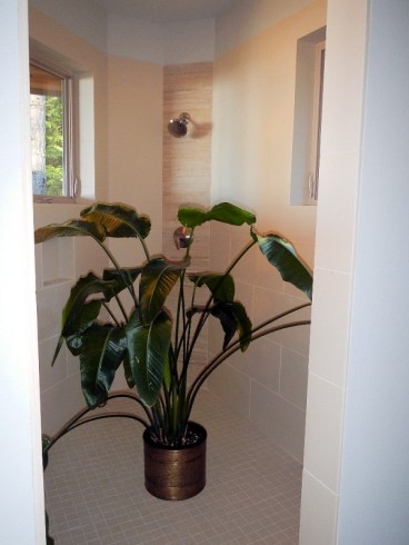 Master Bathroom - Shower with Potted Plant - New Cottage in the Woods with Rick Bernard