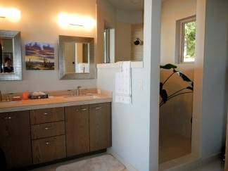 Master Bathroom - Sink and Shower - New Cottage in the Woods with Rick Bernard